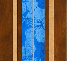Haleiwa Hawaiian Faux Koa Wood Surfboard - Ocean Blue by DriveIndustries