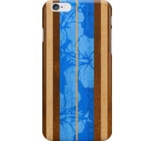 Haleiwa Hawaiian Faux Koa Wood Surfboard - Ocean Blue iPhone Case/Skin