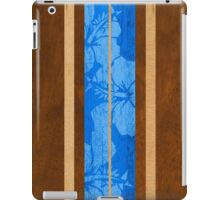 Haleiwa Hawaiian Faux Koa Wood Surfboard - Ocean Blue iPad Case/Skin