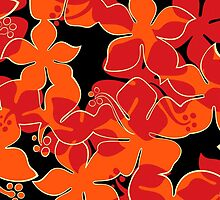 Hanalei Hawaiian Floral Camo Aloha Shirt Print - Red, Orange & Black by DriveIndustries