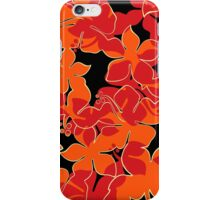 Hanalei Hawaiian Floral Camo Aloha Shirt Print - Red, Orange & Black iPhone Case/Skin