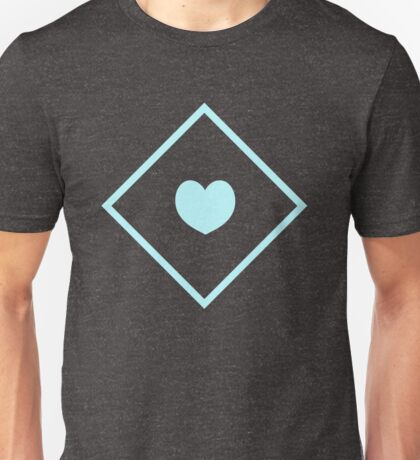 Diamond Heart Cyan Unisex T-Shirt