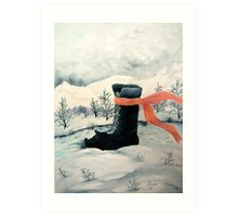 Happy Snow Boot  Art Print