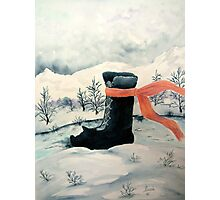 Happy Snow Boot  Photographic Print