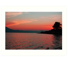 Red Sunset over the mountains - Tralee Bay Art Print