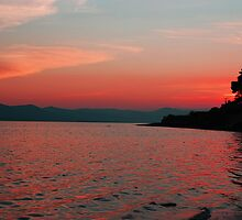 Red Sunset over the mountains - Tralee Bay by Pat Herlihy