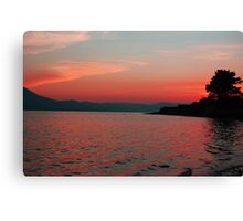Red Sunset over the mountains - Tralee Bay Canvas Print