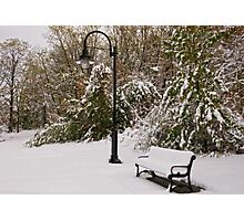 Snow covered Bench & Lamppost Photographic Print