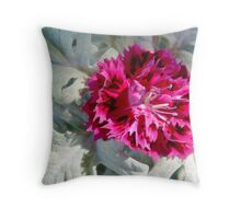 Carnation with Dusty Miller Throw Pillow