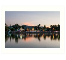 Reflection of Wat Chong Kham at dusk Art Print