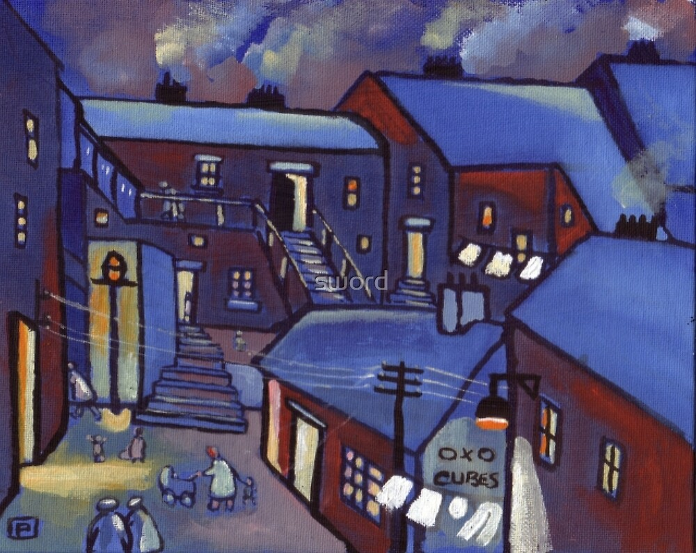 Houses (from my original acrylic painting) by sword