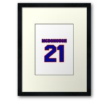 National football player Bob McDonough jersey 21 Framed Print