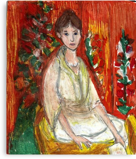 Lady In Front Of Decorated Screen by RobynLee