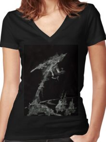 0001 - Brush and Ink - The World Women's Fitted V-Neck T-Shirt
