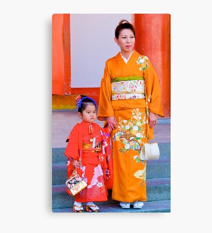 Traditional Japanese Dress, Family Day, Meiji Palace, Kyoto. Canvas Print