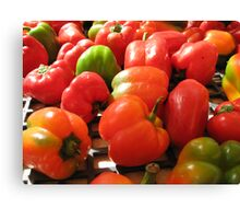 Farmers market peppers Canvas Print
