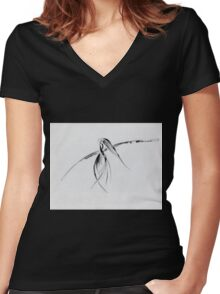 0002 - Brush and Ink - Crow Women's Fitted V-Neck T-Shirt