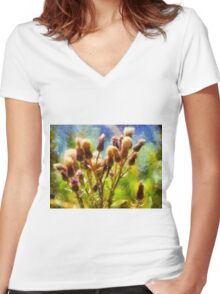 Bunch of flowers under a shining sun Women's Fitted V-Neck T-Shirt