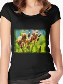 Bunch of flowers under a shining sun Women's Fitted Scoop T-Shirt