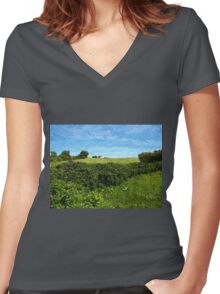 Beautiful green field and blue sky Women's Fitted V-Neck T-Shirt