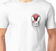 Bunny Heart Pattern Black Unisex T-Shirt