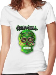Cool Day of the Dead Weed Sugar Skull  Women's Fitted V-Neck T-Shirt