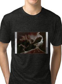 0010 - Brush and Ink - Left Bordered Tri-blend T-Shirt