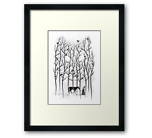 Jon Snow and Ghost Amongst Crows Framed Print