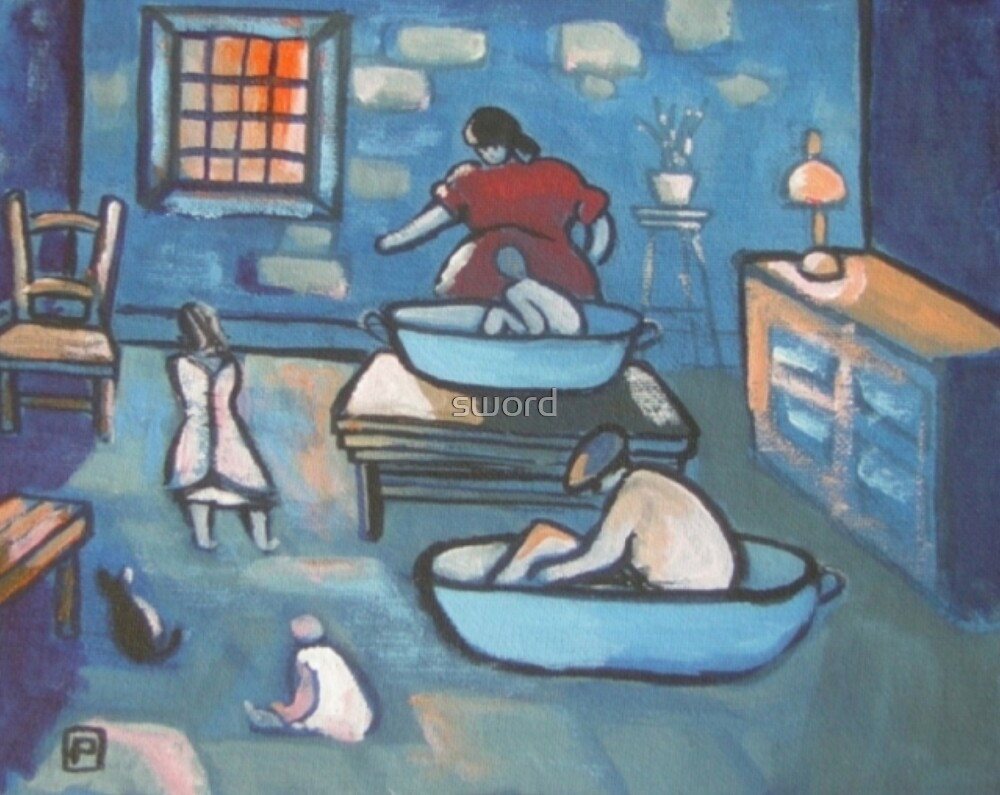 A house with two baths or take your hat off Geordie (from my original acrylic painting) by sword