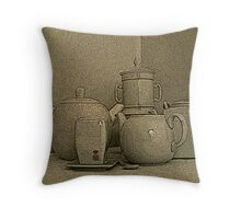 teapot,coffee pot and cup Throw Pillow