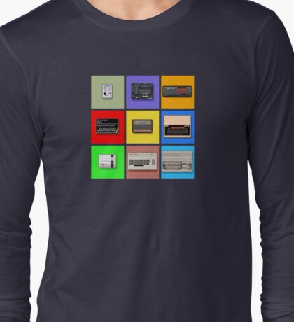 Pixel Retro Gaming Machines Squares Long Sleeve T-Shirt