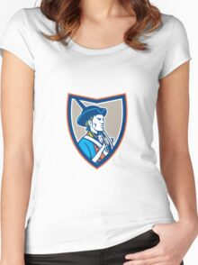 American Patriot Musket Side Shield Retro Women's Fitted Scoop T-Shirt