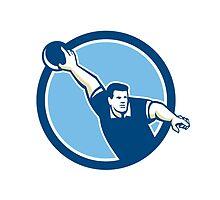 Bowler Throwing Bowling Ball Circle Retro by patrimonio