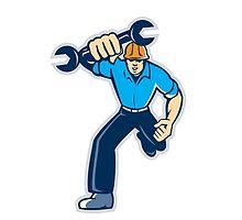 Mechanic Spanner Wrench Running Retro by patrimonio