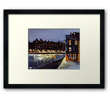 Riverside at night from my original acrylic painting) Framed Print