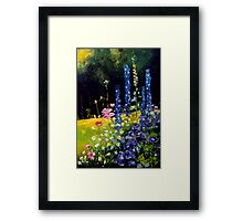 Delphiniums and cosmos  Framed Print