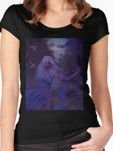 Woman in the foggy forest 2 Women's Fitted Scoop T-Shirt