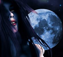 Woman and blue moon by AnnArtshock