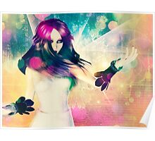 Woman on Glowing Background 2 Poster