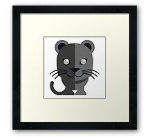 Cute black cartoon panther Framed Print