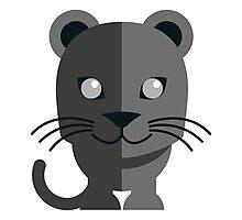 Cute black cartoon panther Photographic Print
