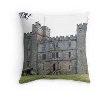 An imposing view of the infamous haunted Chillingham Castle  Throw Pillow