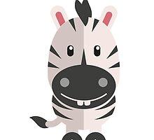 Adorable striped cartoon zebra by berlinrob