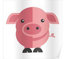 Funny pink cartoon pig Poster