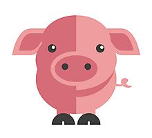 Funny pink cartoon pig Photographic Print