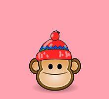Cute Monkey wearing Beanie by Chillee