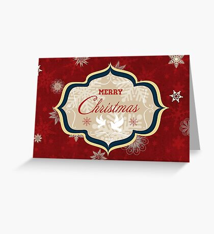 Snowflakes and Doves Christmas Card - Merry Christmas Greeting Card