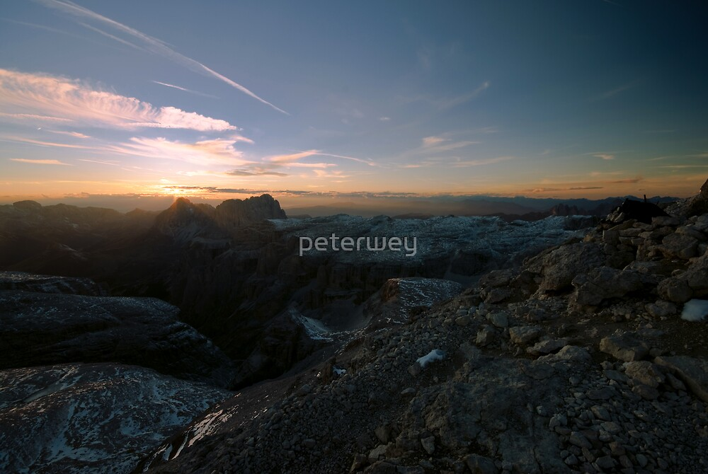 Sunset, view from piz boe by peterwey