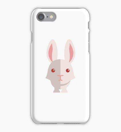 Funny white cartoon rabbit iPhone Case/Skin