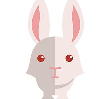 Funny white cartoon rabbit by berlinrob